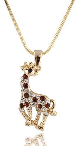 Snake Pendant Brown (Goldtone with Brown Iced Out Giraffe Pendant with a 16 Inch Snake Franco Necklace Chain (B-343))