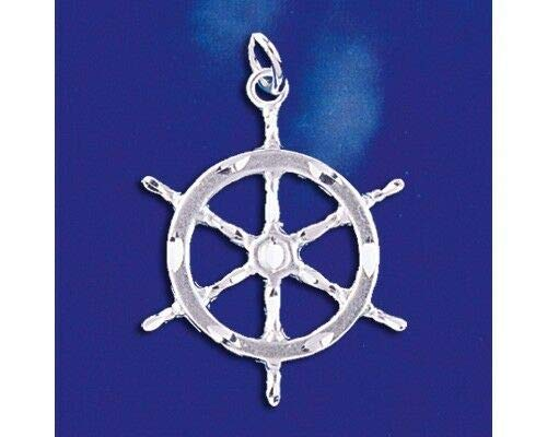 Sterling Silver Captains Wheel Pendant Nautical Ship Boat Charm Solid 925 Italy Jewelry Making Supply Pendant Bracelet DIY Crafting by Wholesale Charms