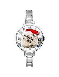 Cat with Santa Hat Children`s, Ladies Stainless Steel Italian Charms Bracelet Watch