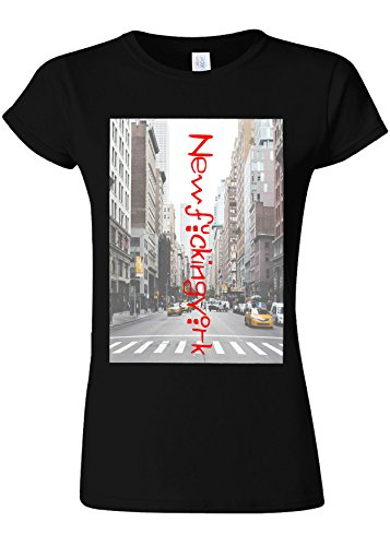 保育園週末唯一NewF*ckingYork New York City NYC Novelty Black Women T Shirt Top-M