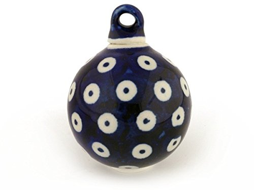 (Polish Pottery 2-inch Ornament Christmas Ball (Peacock Eyes Theme) + Certificate of Authenticity)