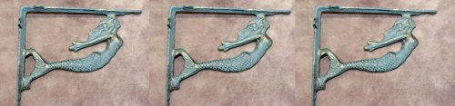 Vintage-look Cast Iron Mermaid Shelf Brackets, Antique-bronze color, 7 1/8