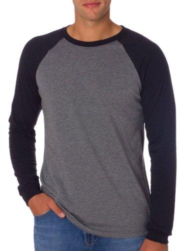 Canvas Men's Hawthorne Baseball long Sleeve T-Shirt - DEEP HEATHER/BLACK - XX-Large by Canvas