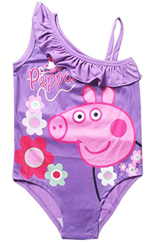 Toddle Girls Peppa Pig-Baby Girls Flower Flounced One Piece Swimsuit Violet-(5/6Y), Violet, Large / 5-6
