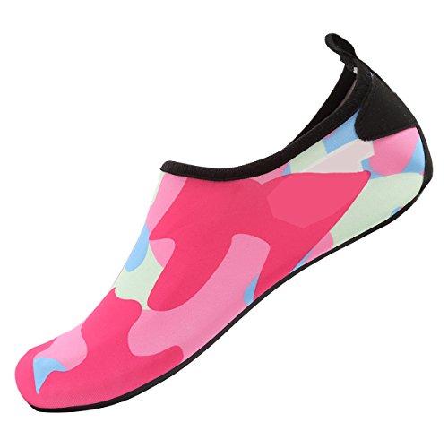 CIOR Männer Frauen und Kinder Barfuß Haut Schuhe Rutschfeste Wasser Schuhe Für Strand Pool Surf Yoga Übung H.pink01