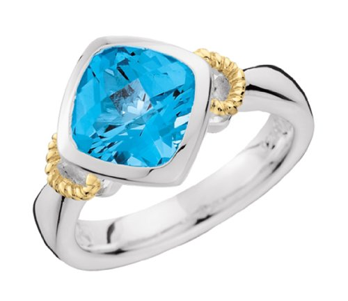 (Colore Sterling Silver and 18K Gold Blue Topaz Ring LZR248-BT)