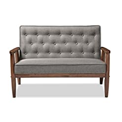 Farmhouse Living Room Furniture Baxton Studio BBT8013-Grey Loveseat Love Seats, Gray farmhouse sofas and couches