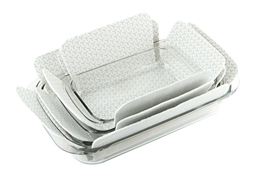 Bakeware Protectors - Set of 3 - Gray - One Piece 19 X 15 Inches Plus Two Pieces 16 X 14 Inches – Padded Pot and Pan Protectors To Protect ()