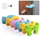 Door Stopper Baby Safety, 6Pcs Child Safety Foam Door Stop Animal, Baby Proofing Finger Pinch Guard, 4 Socket Covers as Free Gift