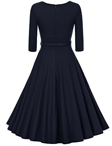 MUXXN Women's 1950s Vintage 3/4 Sleeve Pleated Scoop Neckline Swing Cocktail Dress (2XL, Blue)