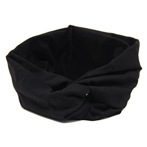 VESNIBA Women Headwear Cross Sport Yoga Cloth Headband Turban Headscarf Wrap (Free Size, Black)