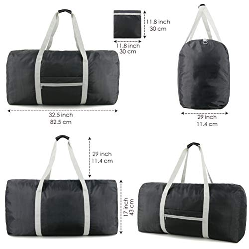 fa52596578 Foldable Travel Duffle Bag XLarge 100L for Men Women Lightweiht Waterproof  Ripstop Polyester Folding into Zipper Pocket