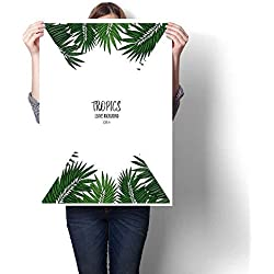 Anniutwo Painting postGreen Floral Frame with Tropical Leaves Botanical Design Template for Wedding Invitations Greeting Cards Postcards wWalls Decoration24 x48
