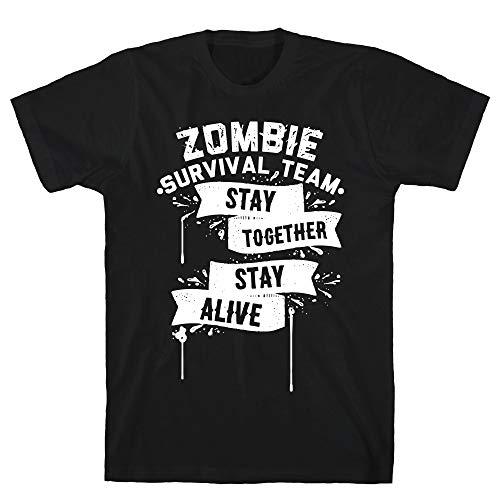 LookHUMAN Zombie Survival Team Stay Together Stay Alive Large Black Men's Cotton Tee -