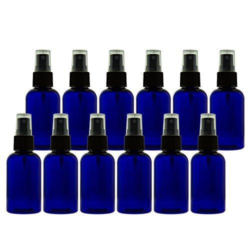 (2 oz (60ml) Cobalt Blue PET Bottles Refillable - Boston Round spray bottles for essential oils Blends - Great for DIY Projects - Set of 12 with 12 Black Mist Spray)
