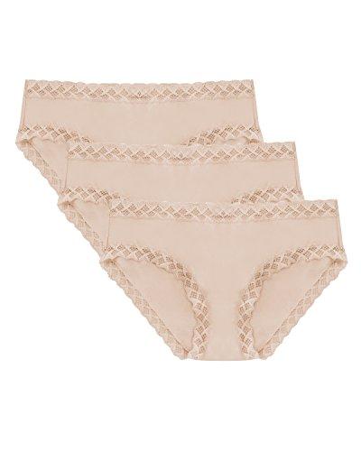 (Natori Women's Bliss Cotton Girl Brief Panty 3-Pack 156058MP Café/Café/Cafe Women's Large /)