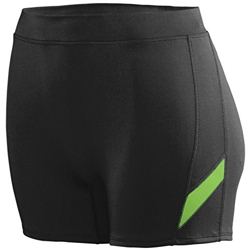 Augusta Athletic Girls Stride Short, Blk/Lime, Small by Augusta Athletic
