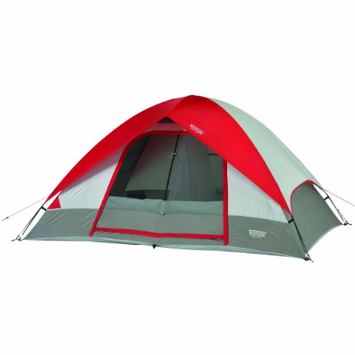 Pine Ridge 5, 10 x 8 Foot, 4-5 Person 2-Room Dome Tent - Red (Head Mesh 8')