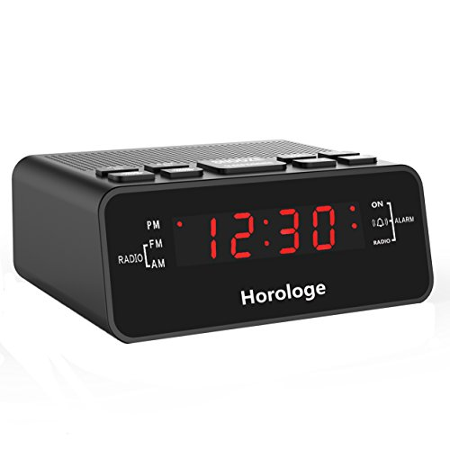 Alarm Clock Radio, Digital Alarm Clock, Clock Radios with AM/FM, Sleep Timer, Dimmer, Snooze, 0.6 Digital LED Display and Battery Backup Function for Bedroom, Office, Table and Desk