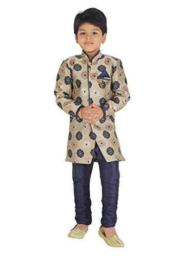 KLAUD ZEE Kids Ethnic Indo-Western Cotton Festive and Party Wear Sherwani and Breeches Set for Boys (8-9 Years, Gold) (Indian Home Remedies For Cough For Kids)