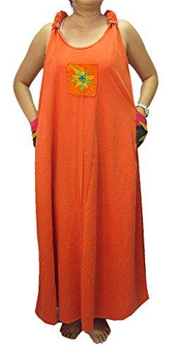 3-poche Nouée Dans Le Dos Sans Manches Robe Longue Bavette Coton Orange Femmes