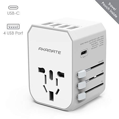 Travel Adapter, AKAMATE International Universal Power Wall Charger with 4 USB, 1 USB C, Smart IC, All in One Adapter for…