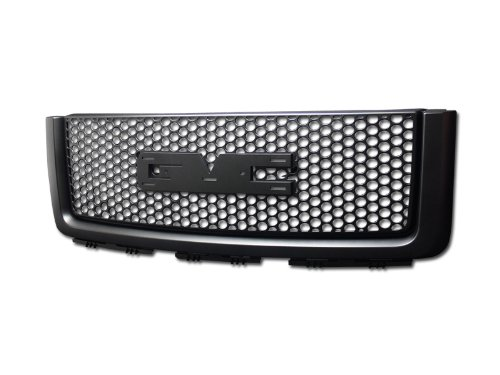 HS Power Black Round Hole MESH Front Hood Bumper Grill Grille+Logo Base 07-13 Sierra 1500 ()