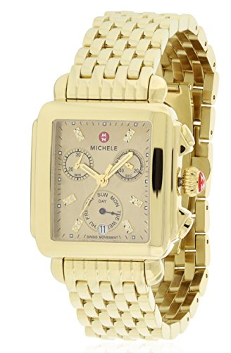 (Michele Deco Gold-Tone Chronograph Ladies Watch MWW06P000244 )