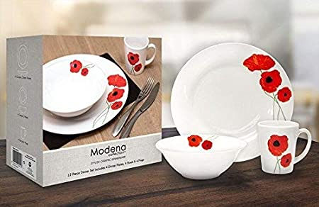 12 Piece Dinner Set Red Poppy 4x Plates,Bowls & Mugs Dishwasher Safe ...