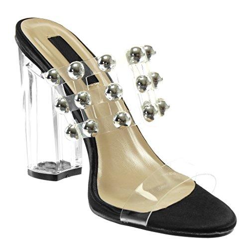 Haut Talon Transparent Chaussure cm Femme Mode Clouté 5 Mule on Perle Sandale Noir 11 Bloc Slip Angkorly PnqdzvWz