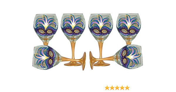 Hand Painted. Mardi Gras Design with Purple Mask Wine Glasses Set of 2