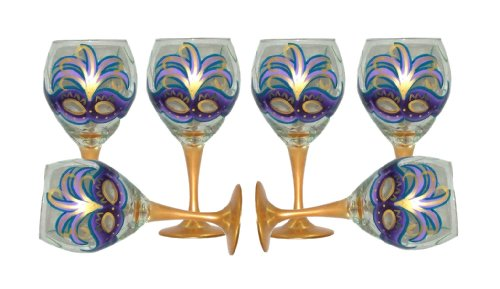 ArtisanStreet's Mardi Gras Design with Purple Mask Wine Glasses. Set of 6. Hand Painted. (Artisanstreets Set)