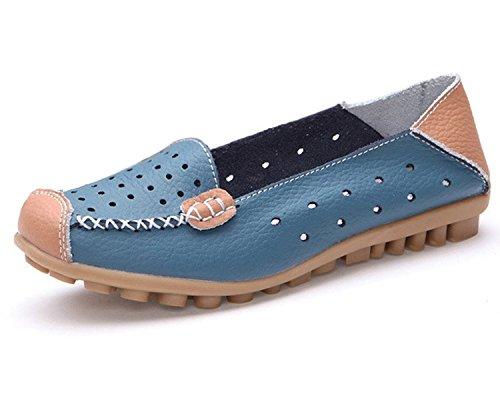 Mine Tom Mujer Moda Los Zapatos Del Holgazán Hueco Zapatillas De Mocasín Talón Plano Verano Zapatos Azul
