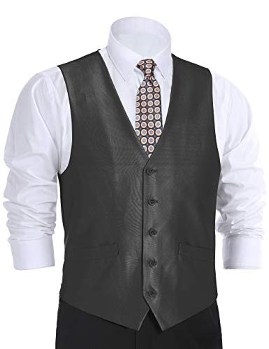 CHAMA Men's Suit Vest Formal Business Vest Waistcoat 5 Button Regular Fit (52 Regular, Black Sharkskin)