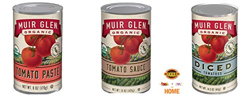 Muir Glen Organic, No Sugar Added, Tomato Sauce, Tomato Paste and Diced Tomatoes (3 Pack, 1 of Each) ()
