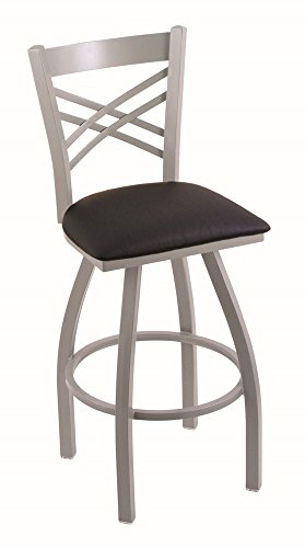 (Holland Bar Stool Company 820 Catalina 25-Inch Counter Stool with Anodized Nickel Finish, Black Vinyl Seat and 360)