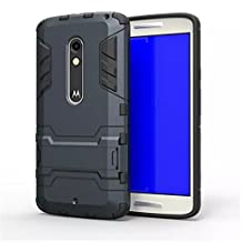 Moto X Play Case,Gift_Source TPU+Hard Case Dual Layer Armor Rugged Defender Protective Case With Built-in Kickstand For Motorola Moto X Play [Blue Black]