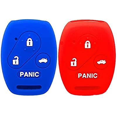 2Pcs WERFDSR Sillicone key fob Skin key Cover Keyless Entry Remote Case Protector Shell for Honda Accord Civic CRV EX SE Element Pilot 4 button smart remote red blue: Automotive