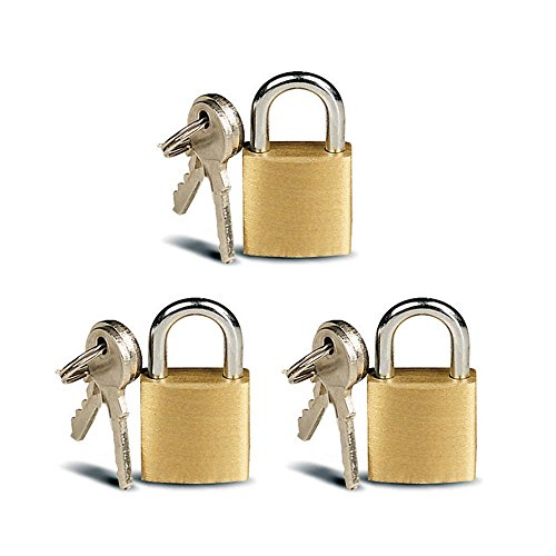 ATB 3 Pc Small Metal Padlock Solid Brass Mini Lock (Lock Key With Suitcase)