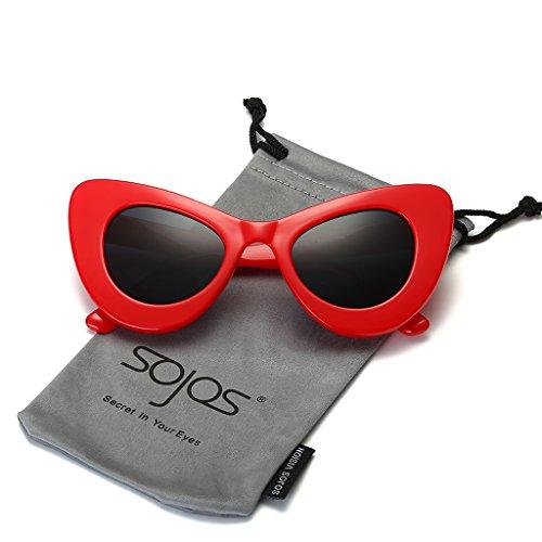 SojoS SJ2028 Cat Eye Celebrity Flat Lenses Street Fashion Party Women Sunglasse With Red Frame/Grey - Brand Korean Sunglasses Celebrity