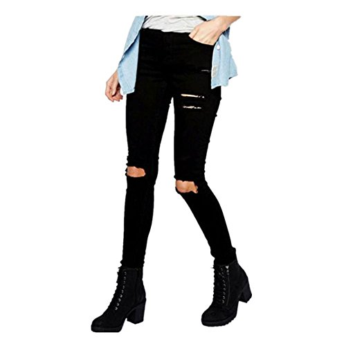 FAMILIZO Mujeres Cool Ripped Rodilla Corte Skinny Long Jeans Pantalones Slim Pencil Pantalones Hole Leggings