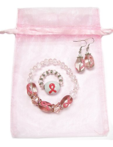 Linpeng Breast Cancer Awareness - Cancer Survivor - Pink Ribbon Stretch Bracelet - Earrings, Finger Ring Jewelry Set - Glass Crystal Beads 8 to 18mm -Bracelet Length 7.5