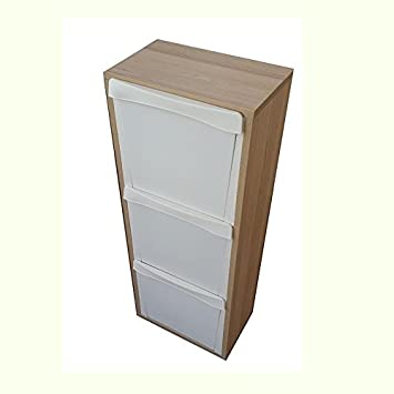 Mueble de madera para reciclaje con 3 compartimentos, color roble, 25 x 40 cm y 101 cm de alto: Amazon.es: Hogar