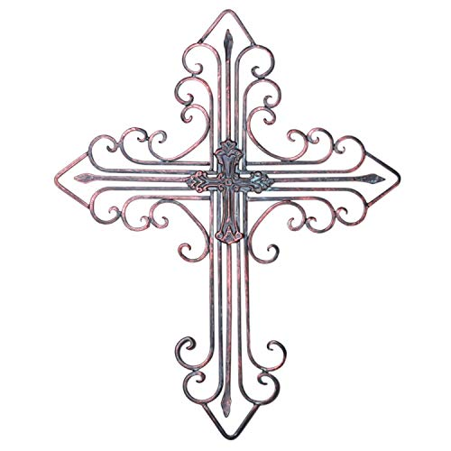 Zksanmer Antique Wall Mount Layered Cross, Metal Scrolled Wall Art Wall Sculptures Cross with Hook, Decorative Iron Hanging Cross Home Decor, 14.2