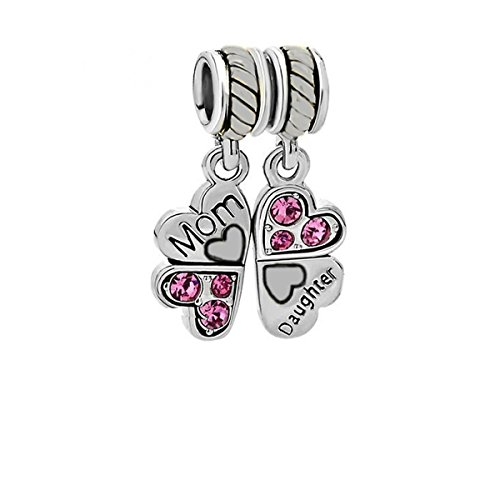 Mother Daughter Charm (1 Pair Mother Daughter Heart Love Butterfly Charm For Snake Chain Charm Bracelet)