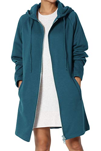 TheMogan Women's Hoodie Oversized Zip Up Long Fleece Sweat Jacket Teal M/L