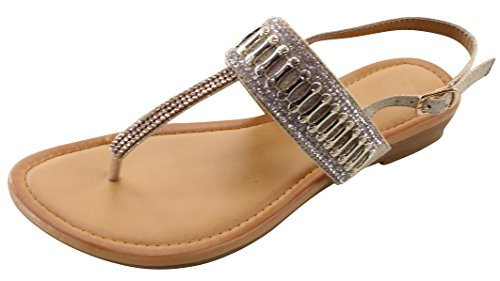 Cambridge Select Dames T-strap String Glitter Kristal Strass Kralen Laag Wig Sandaal Goud