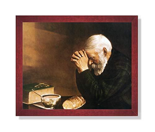 (Art Prints Inc Daily Bread Man Praying at Dinner Table Grace Religious Wall Picture Cherry Framed Art Print)