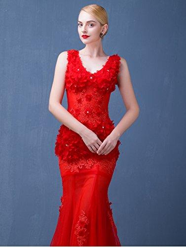 Emily Meerjungfrau Band Ärmelloses Abend Applikationen Rot Beauty Kleid Sweep Tailing Ausschnitt V OXfqd
