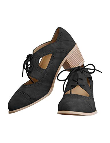 Athlefit Women's Cut Out Ankle Boots Breathable Vintage Oxford Block Heel Pumps Size 8 Black